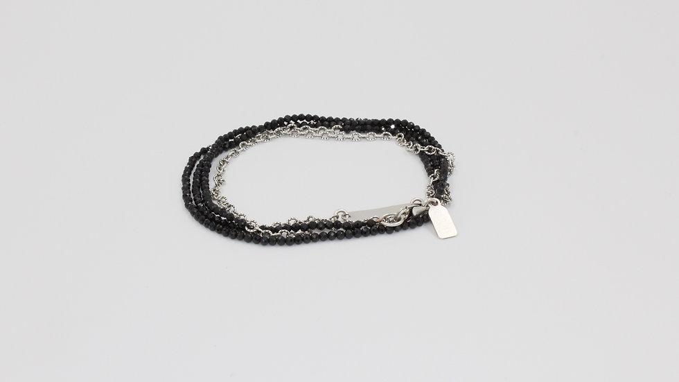 Oxidized Silver Chain & Spinel Wrap Bracelet