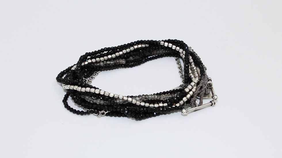 Stack: Oxidized Silver Chain & Spinel Wrap Bracelet Sterling Silver & Spinel Bra