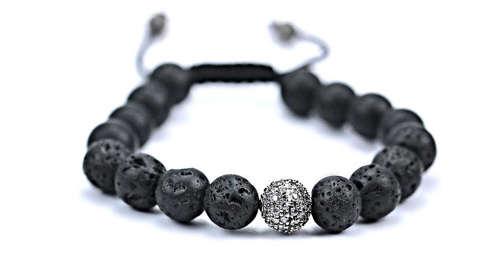 Lava, Onyx & Lustrous Crystal CZ Ball Bracelet