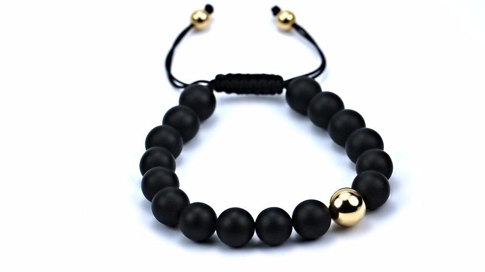 Matte Onyx & Gold Orb Bracelet
