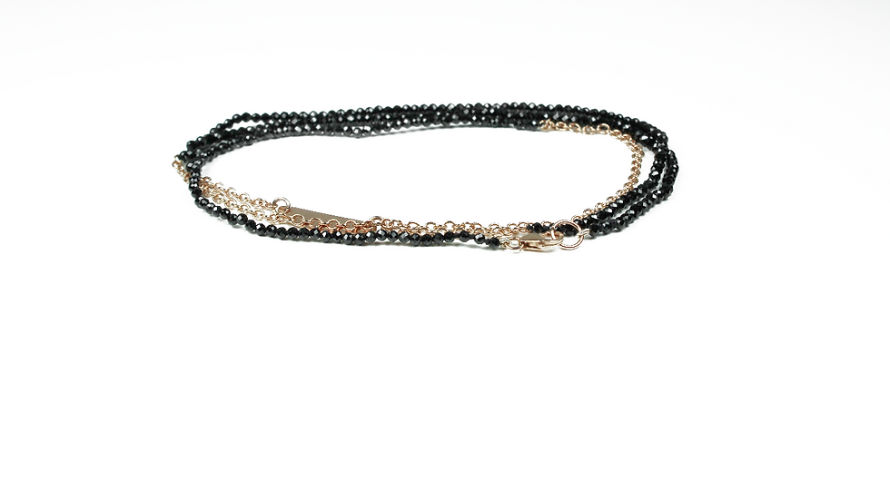 Rose Gold Chain & Spinel 4 Wrap Bracelet