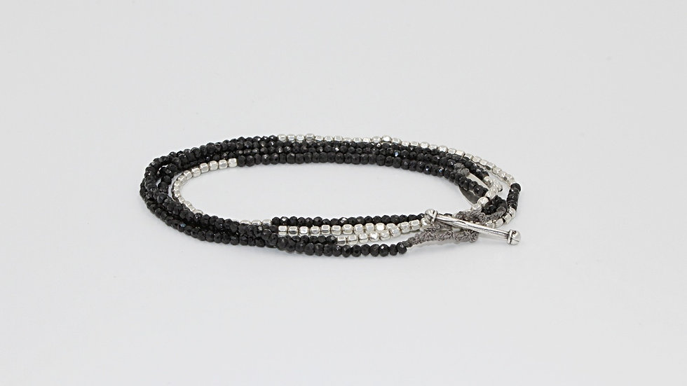4 Wrap Sterling Silver & Spinel Bracelet/Necklace/Anklet