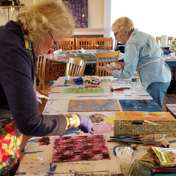 Some of the artist at work from our recent cold wax workshop!