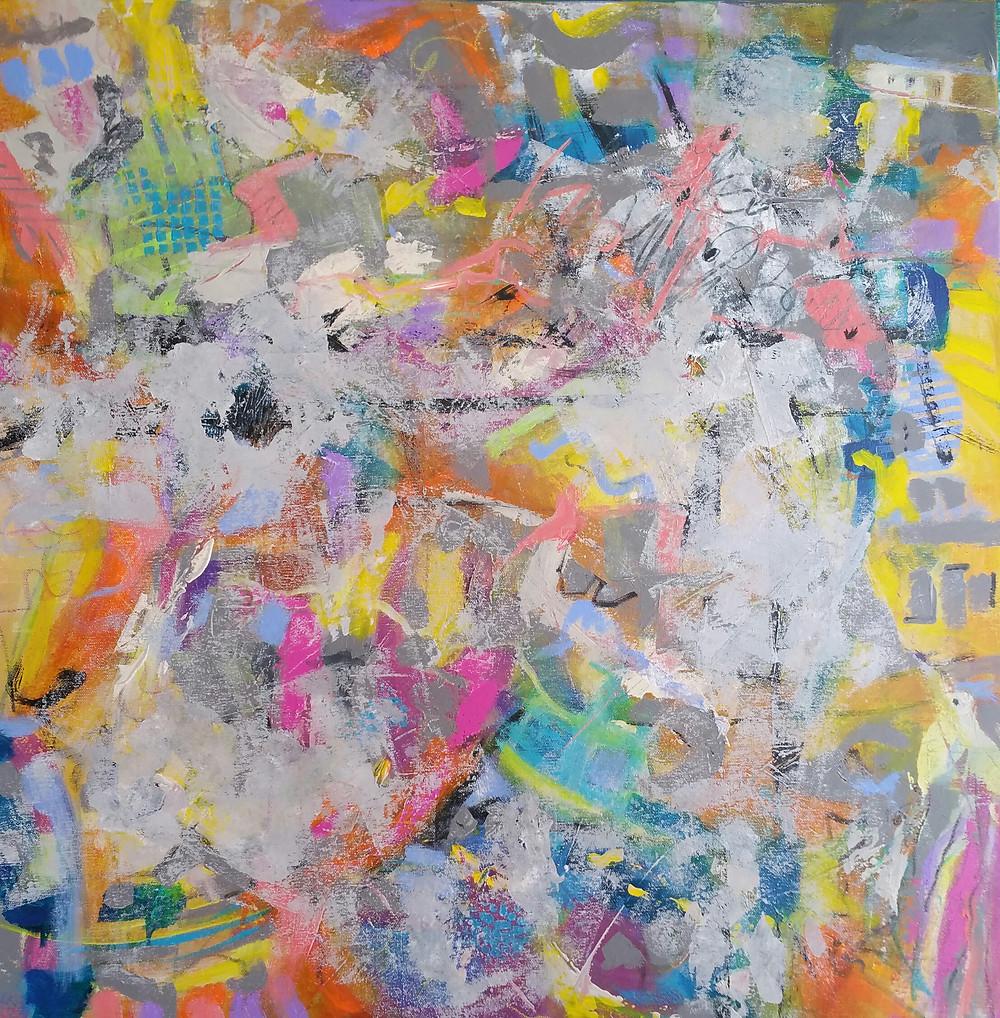 """Feeling Frisky, revisited""  acrylic on canvas 36 x 36"