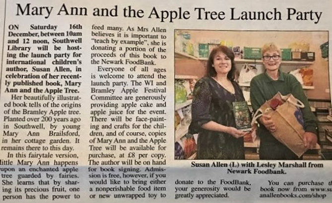 Book Launch for Mary Ann and the Apple Tree by Susan Allen