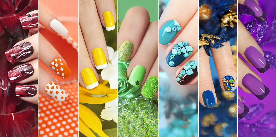 Colorful rainbow collection of nail designs for summer and winter .jpg