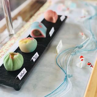 Seasonal wagashi on display