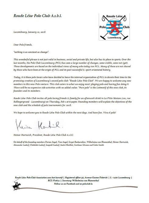 Roude Léiw Polo Club letter to friends