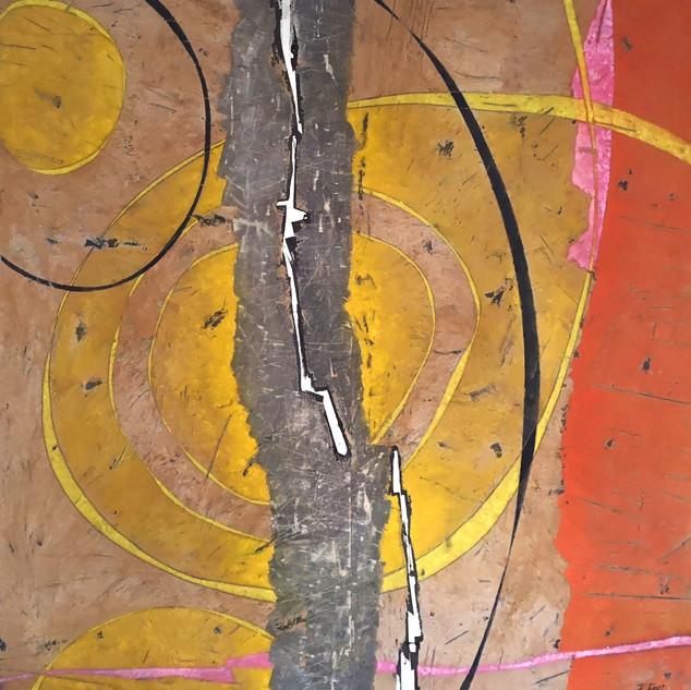 _ Deux lunes _ _ 148 x 146 cm _ terre, p