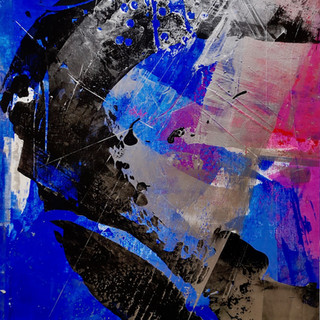 """"""" Tourmente sur fond bleu et rose """""""