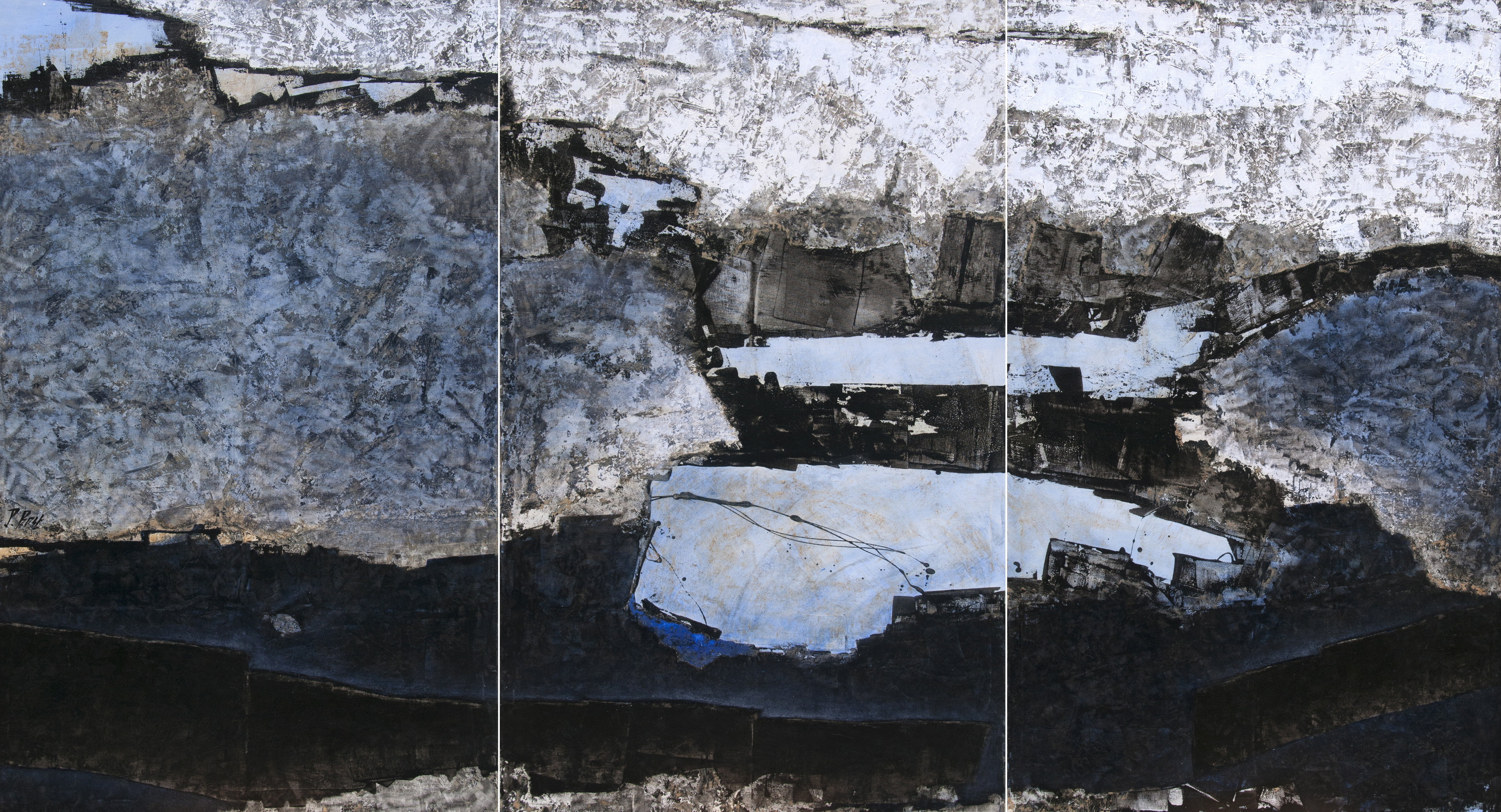 """Bleu-blanc-noir"", triptych"