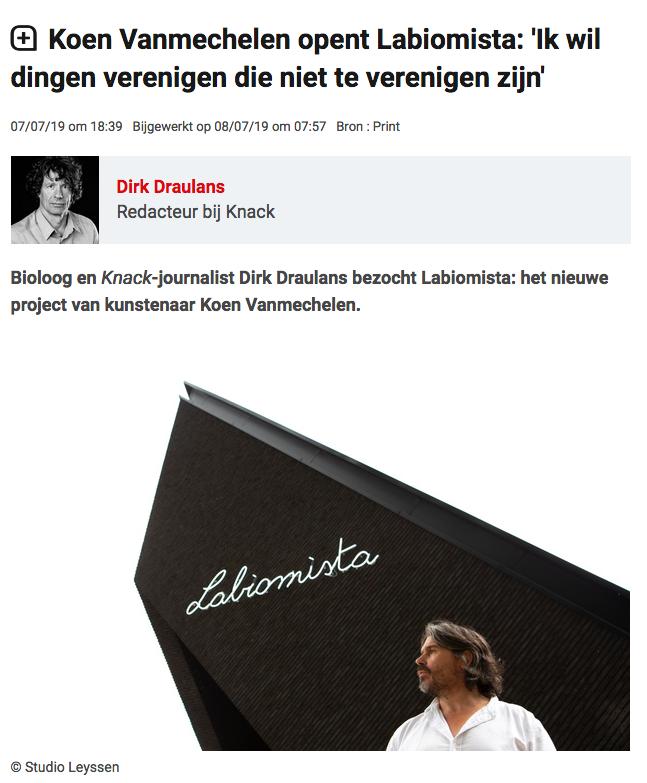 Dirk Draulans in Knack on LABIOMISTA