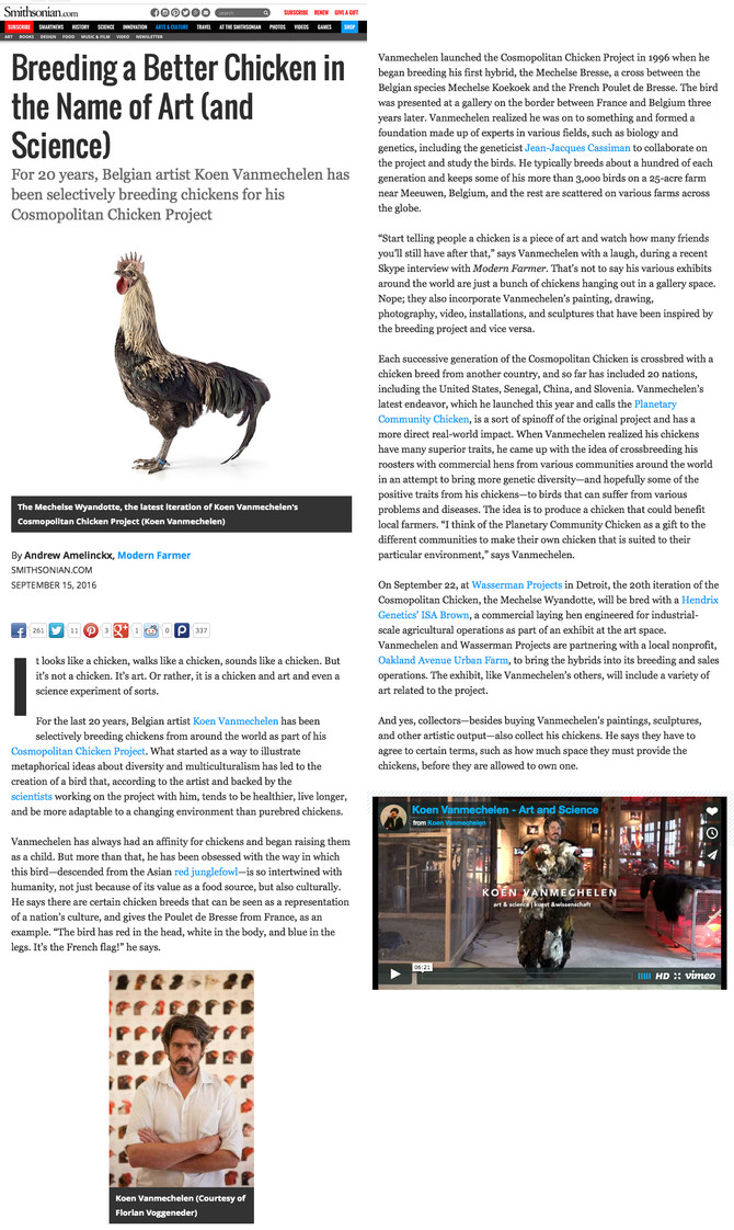 Modern Farmer/Smithsonian Magazine: Breeding a better Chicken in the Name of Art (and Science) (PRES