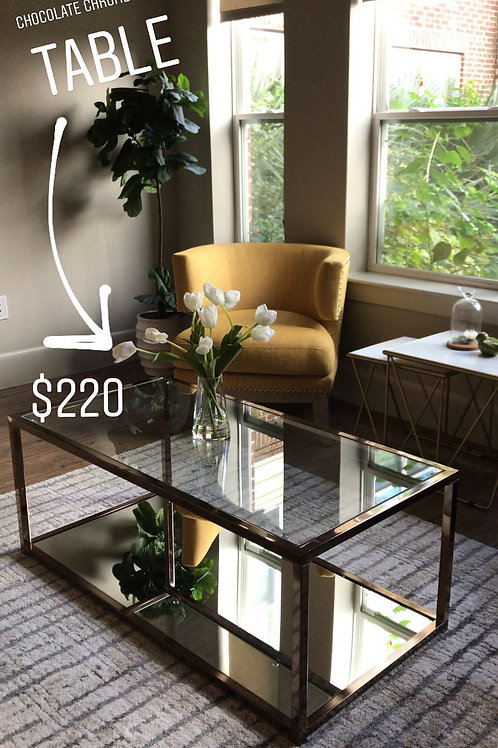 Glass chrome coffee table