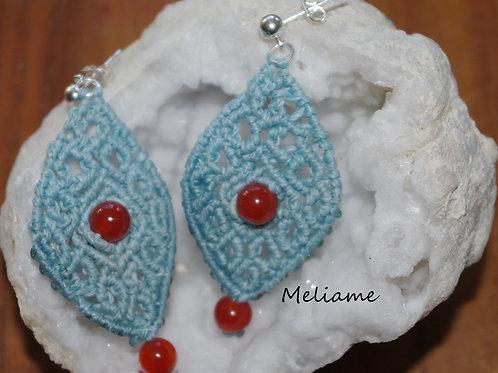 Boucles d'oreilles Lola Agate rouge