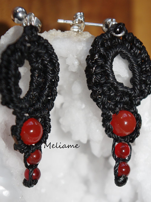 Boucles d'oreilles Inés Agate rouge