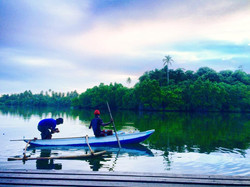 Fisherman off the pontoon