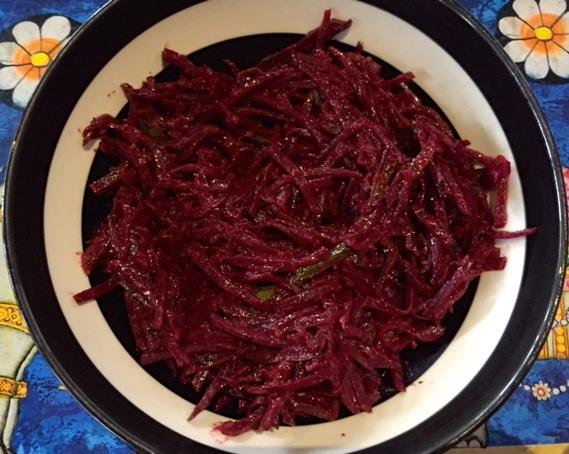 Beetroot curry by our cook