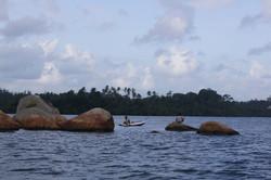 Take a boat to the rocks on Koggala