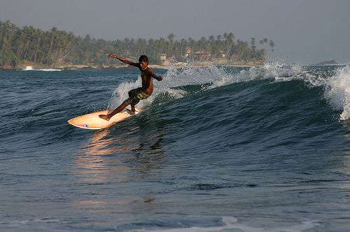 Surfing near Koggala