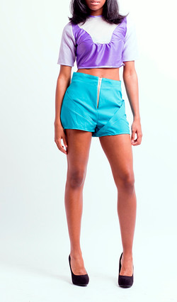3D Shorts and Panel Crop Top