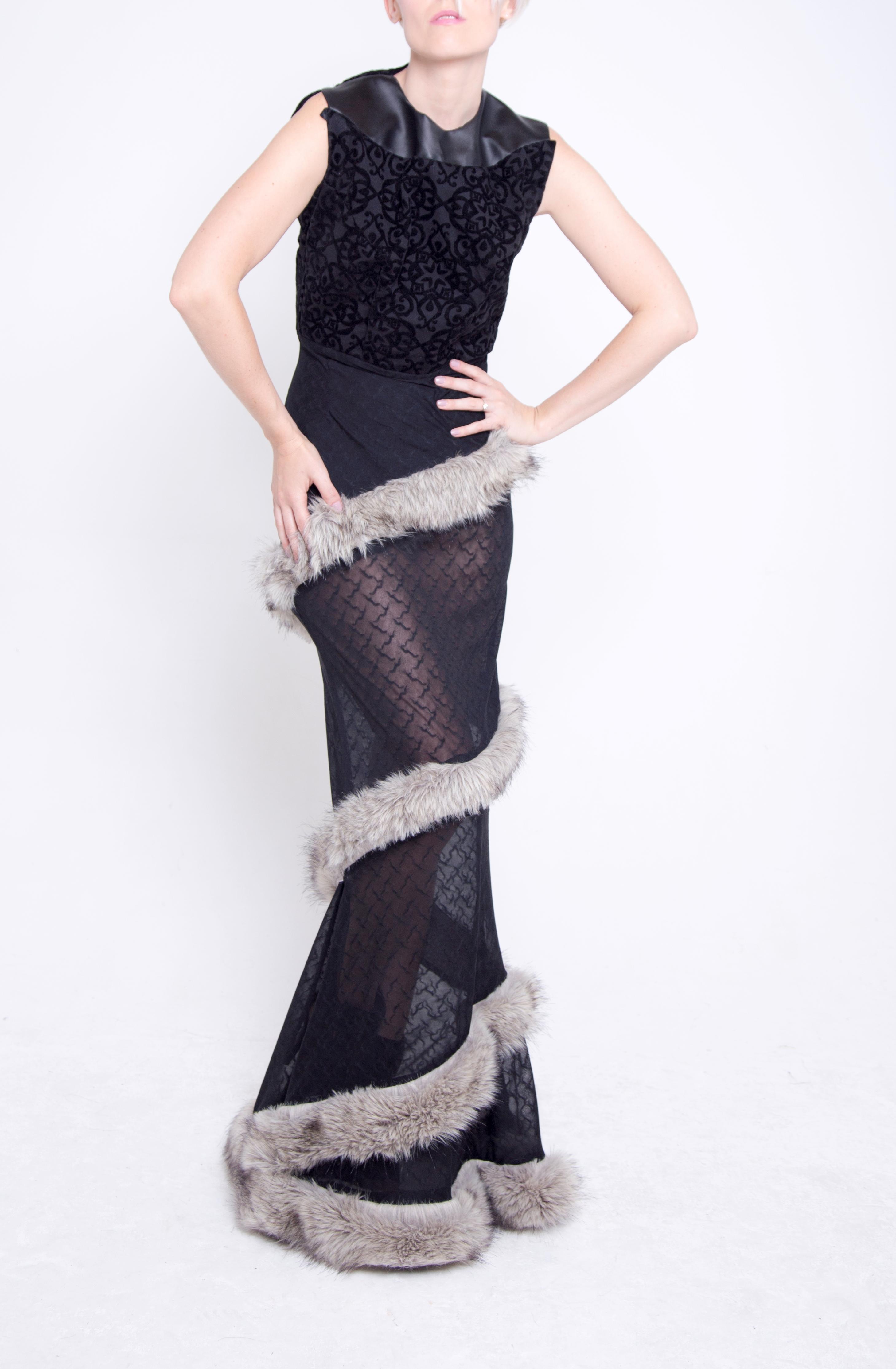 Faux Fur Ball Gown