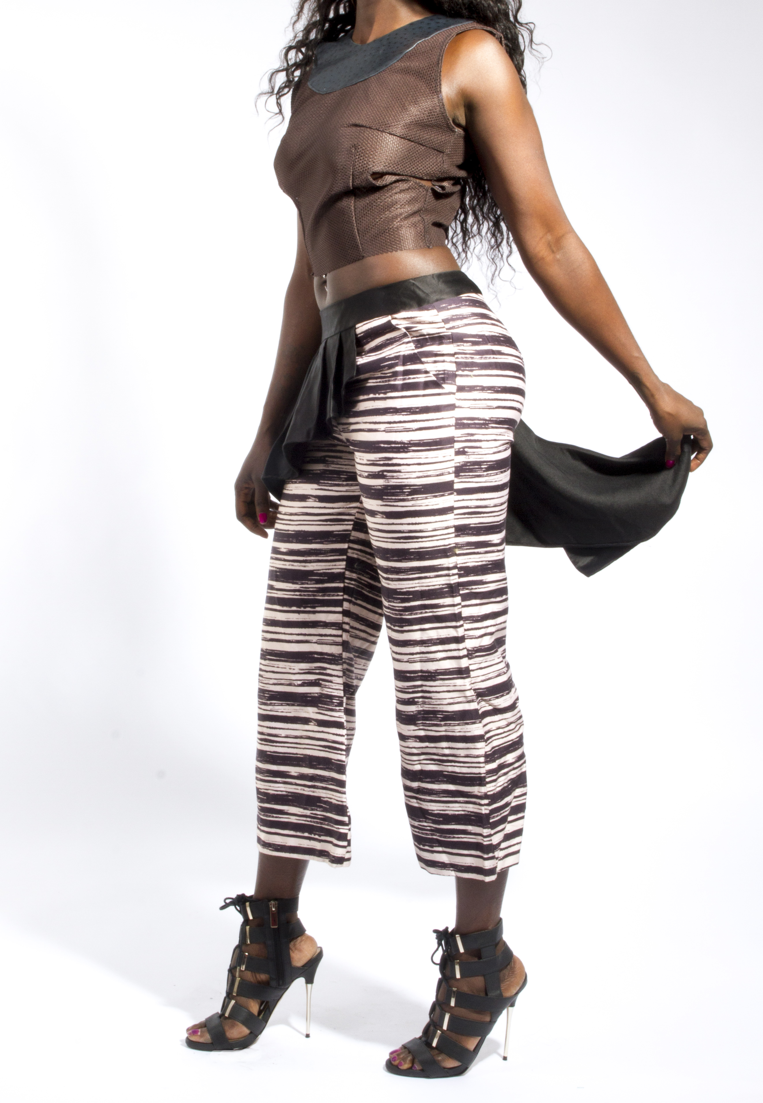 Perforated Crop Top & Draped Trouser