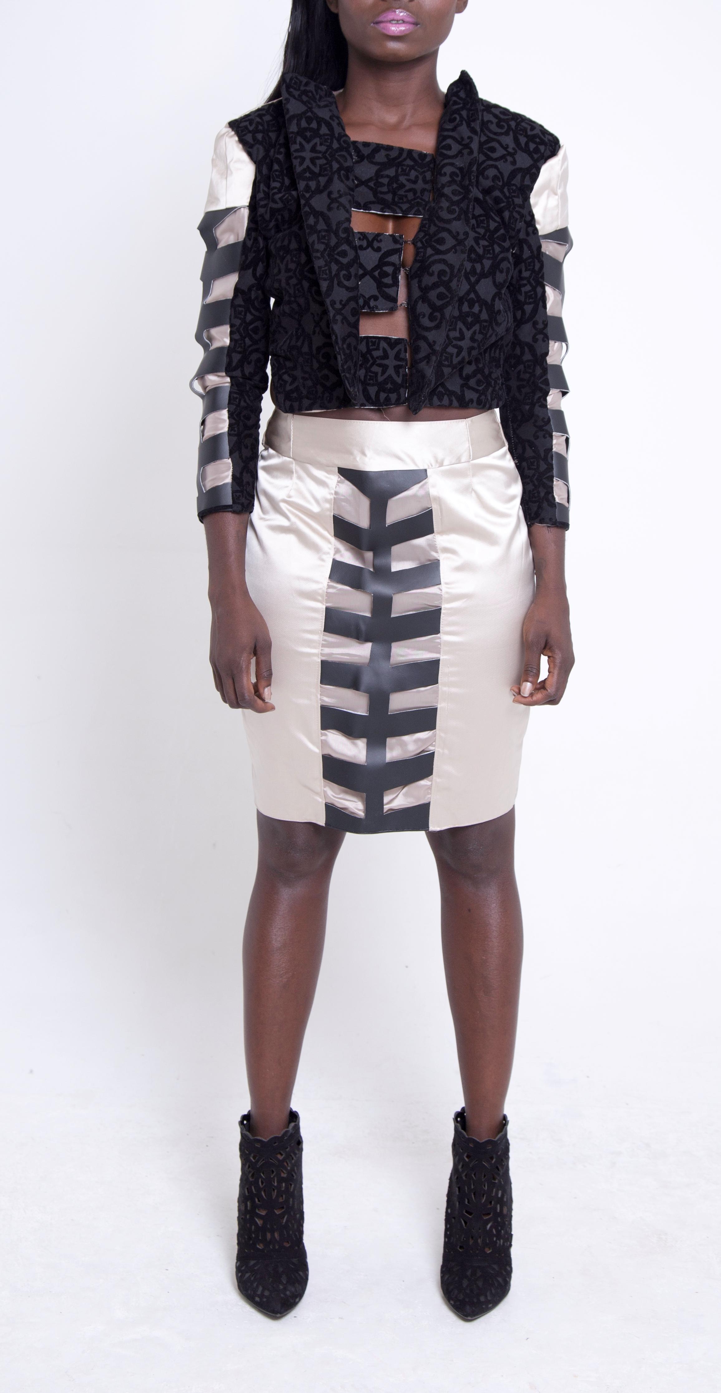 Cut Out Crop Jacket & Pencil Skirt