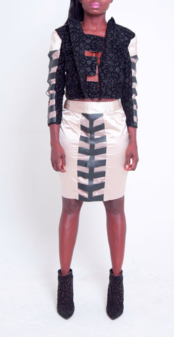 Cut Out Crop Jacket & Pencil Skirt
