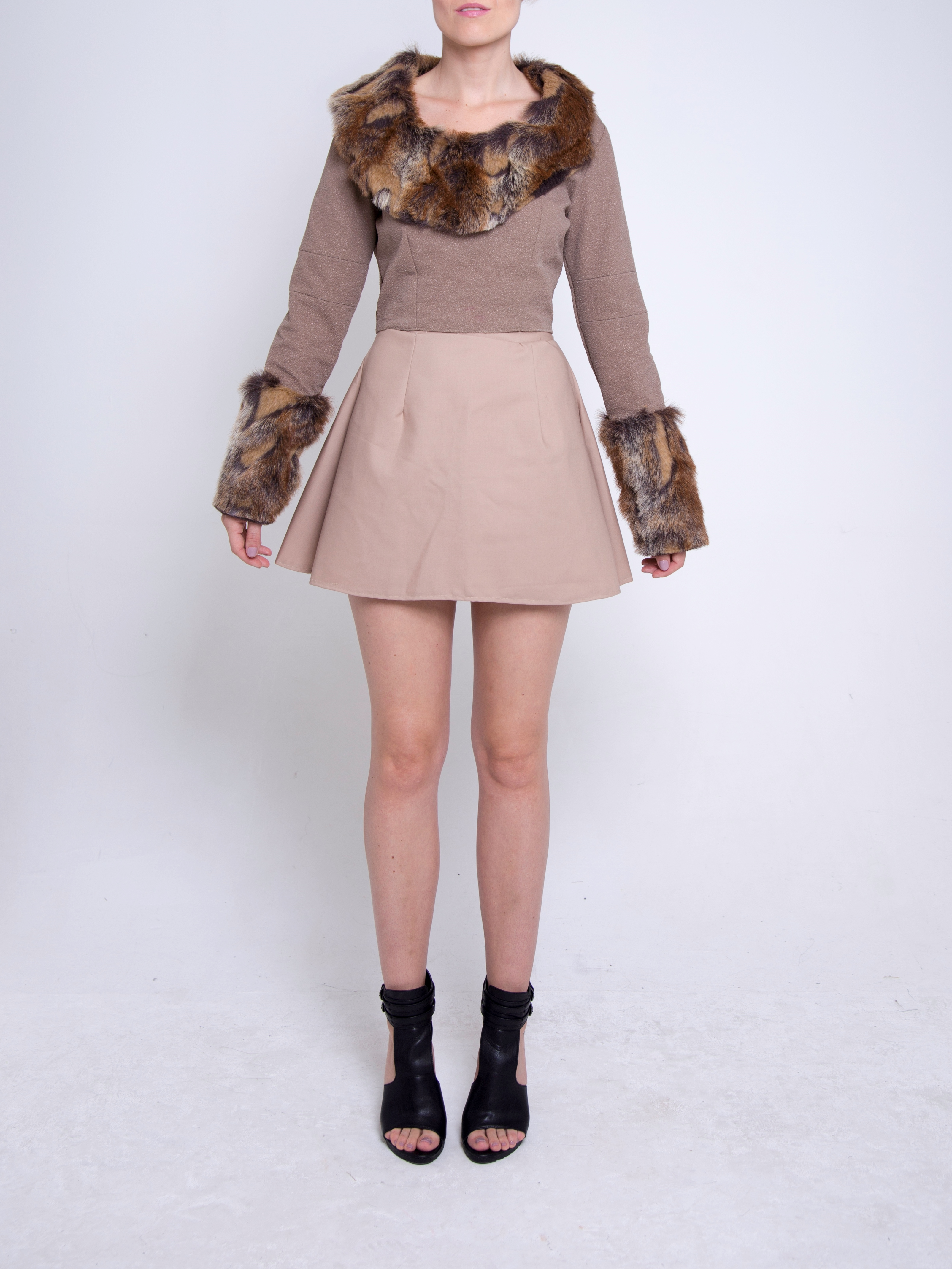 Faux Fur Crop Top & Circle Skirt