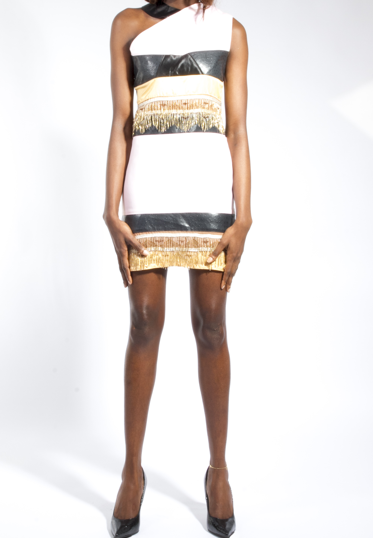 One Shoulder Beaded Dress