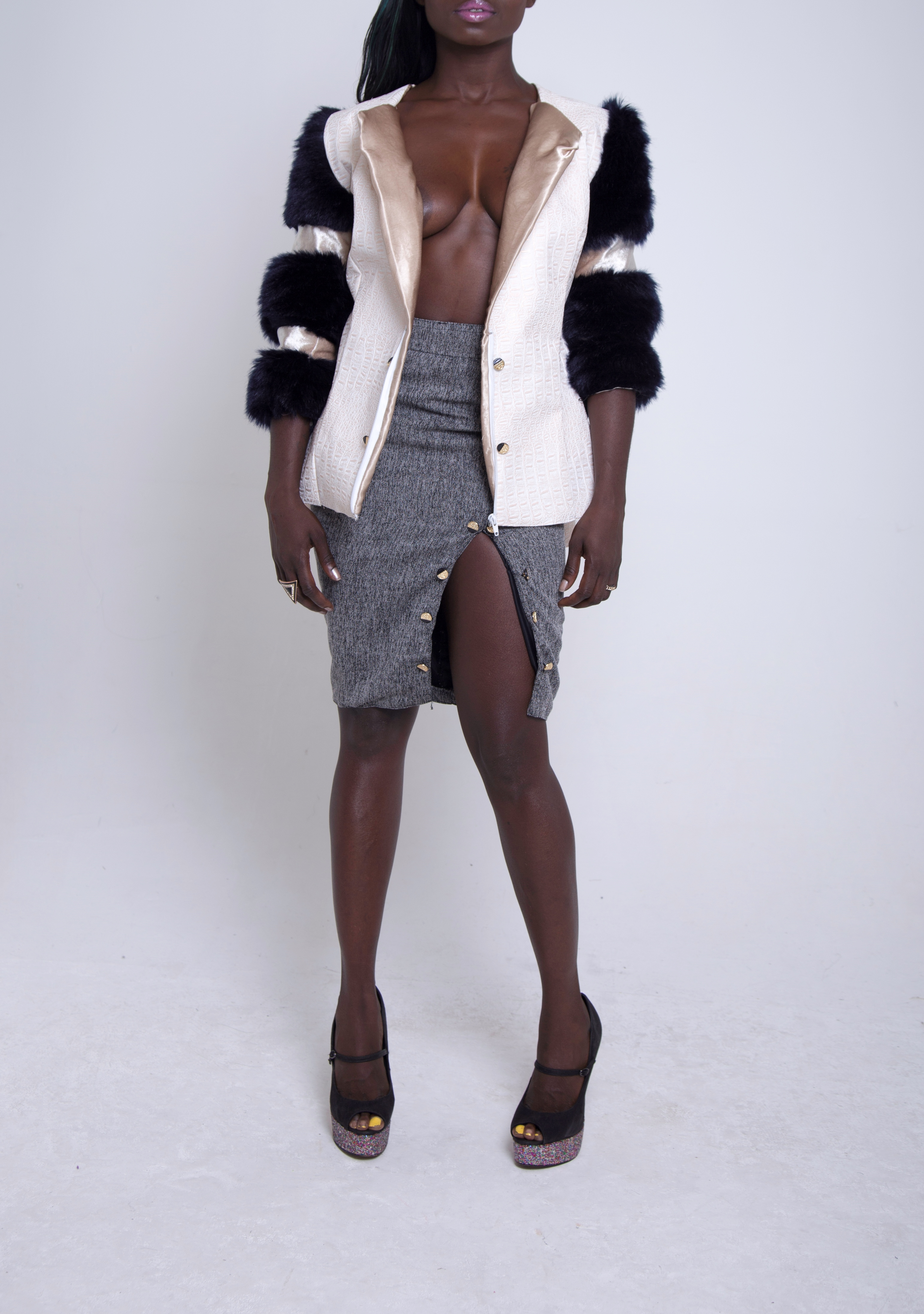 Croc/Fur Panel Jacket & Pencil Skirt