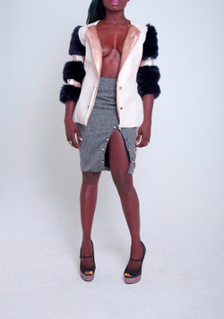 Croc/Fur Panel Jacket & Pencil Skirt