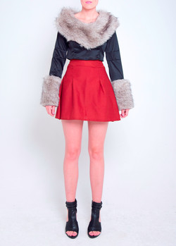 Faux Fur Crop Top & Circle Skirt