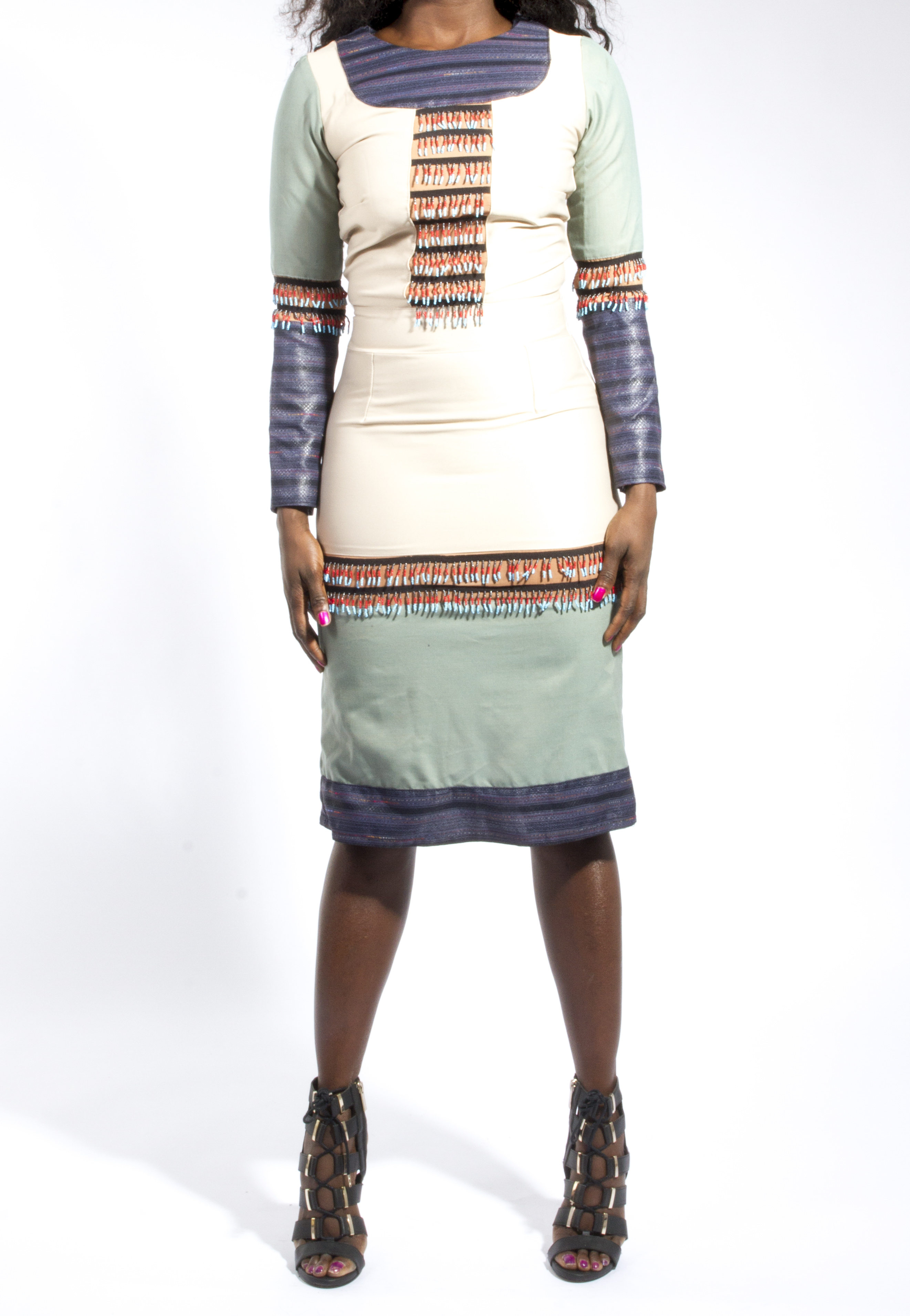 Detailed Beaded Panel Midi Dress