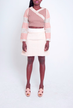 Panel Crop Top & Flared Skirt