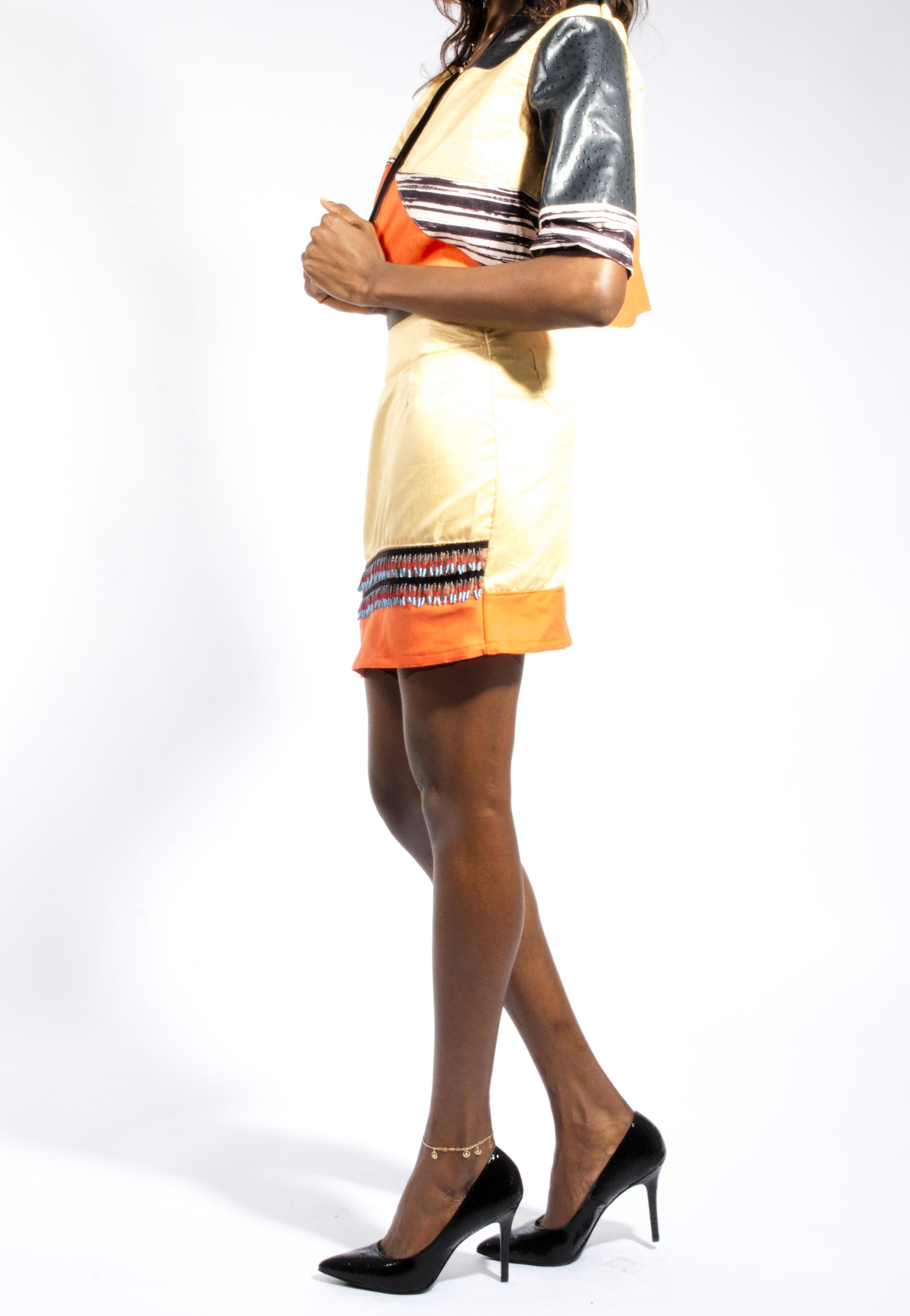 Panel Puff Jacket & Beaded Skirt