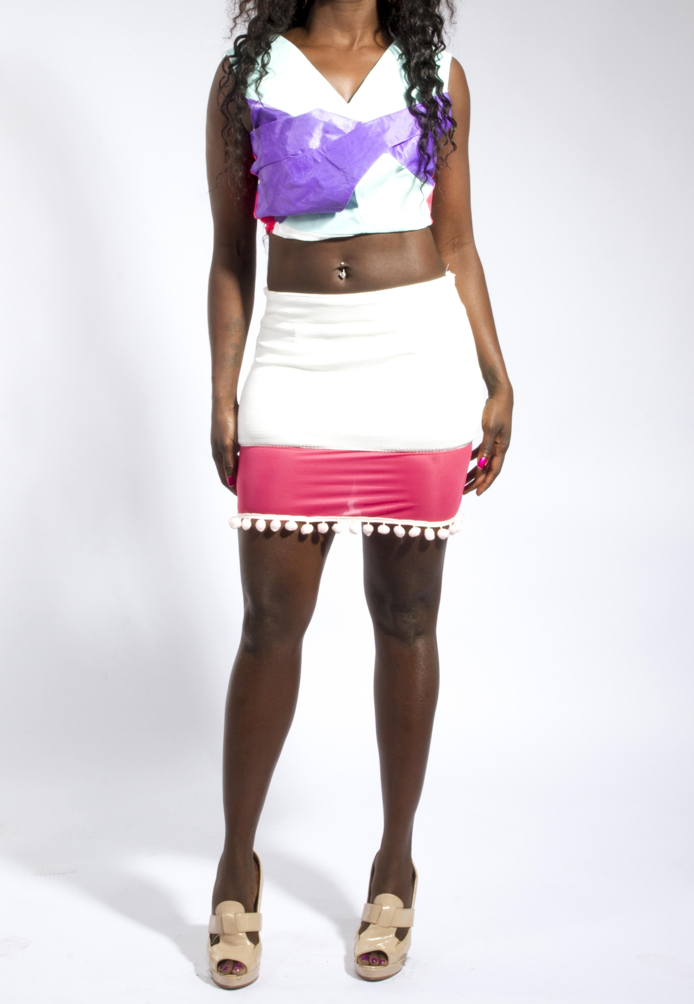 3D Crop Top & Panel Skirt