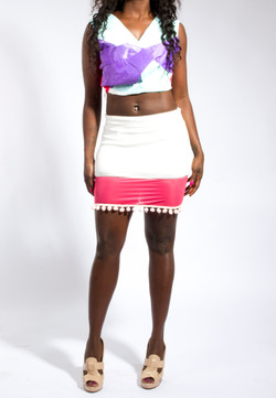 3D Crop Top & Panel Skirt