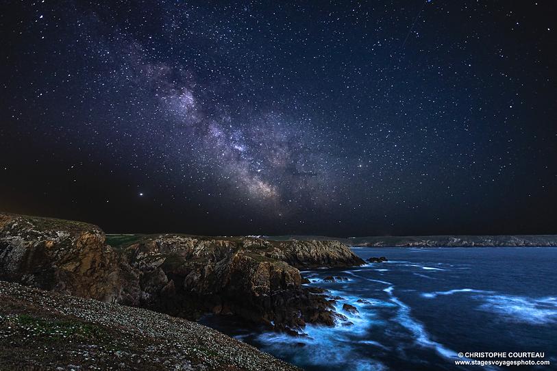Photo de paysage nocturne en Bretagne à la Pointe du Raz et Voie Lactée