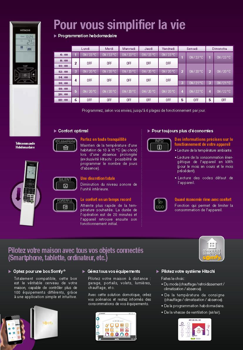 console telecommande hitachi air/air monosplit