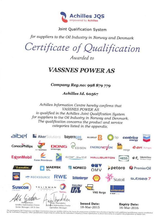 Vassnes get's Achilles certified!