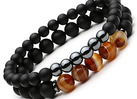 Hematite and Agate Bracelet