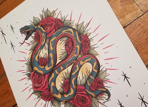 Snake with Roses, Giclée Print