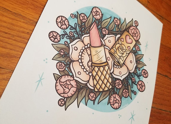 Lipstick and Flowers, Giclée Print