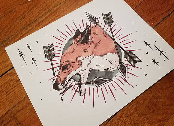 Fox and Arrows, Giclée Print