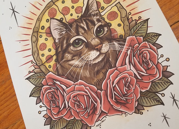 Cat with Roses & Pizza, Giclée Print