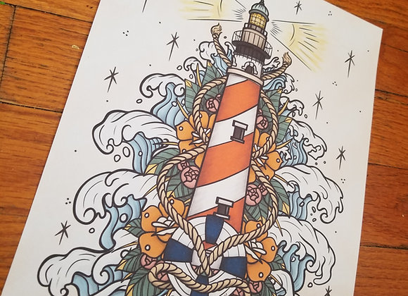 Lighthouse with Waves, Giclée Print