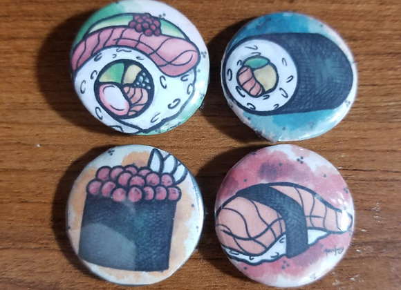 Set of Four 1 Inch Sushi Pins