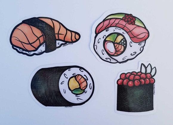 Sushi sticker set, 4 parts